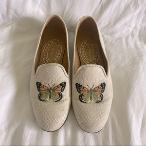 Stubbs & Wootton Butterfly Embroidered Loafers